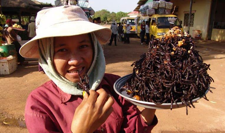 Snack aus Kambodscha: Wie wäre es mit frittierter Vogelspinne mit Knoblauch? | Foto: Heiko Meyer