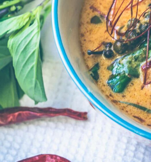 Rotes Thai Curry mit Hühnchen