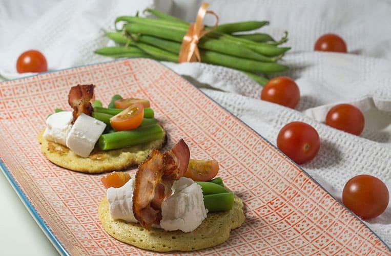 Socca mit grünen Bohnen, Picandou und Bacon