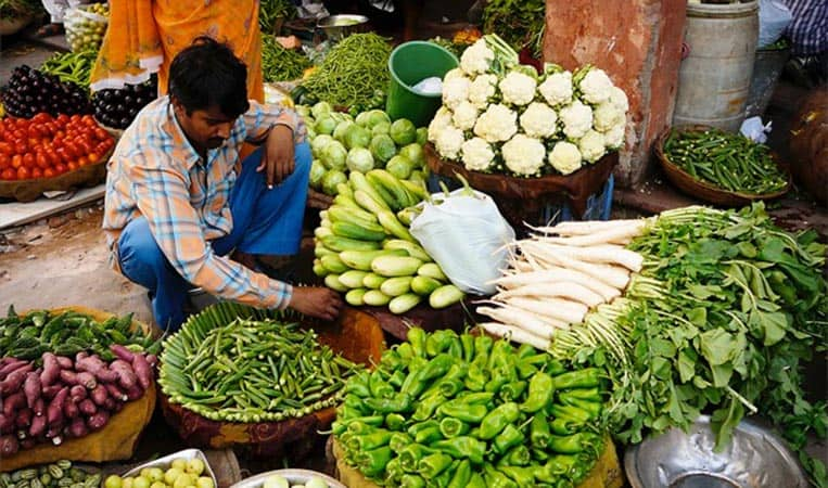 Obst und Gemüse an einem Marktstand in Rajasthan/Indien