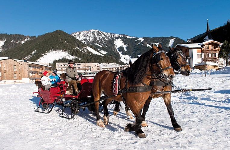 eine Pferdeschlittenfahrt durch die verschneite Winterlandschaft
