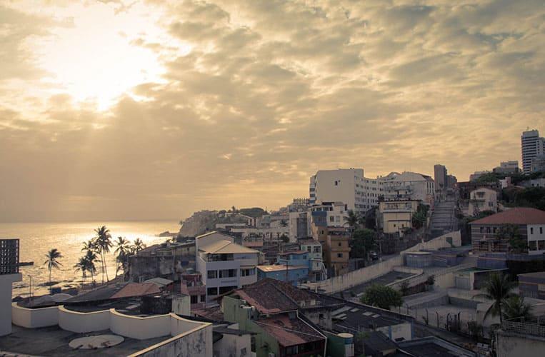 der Ausblick vom Hostel auf Rio Vermelho