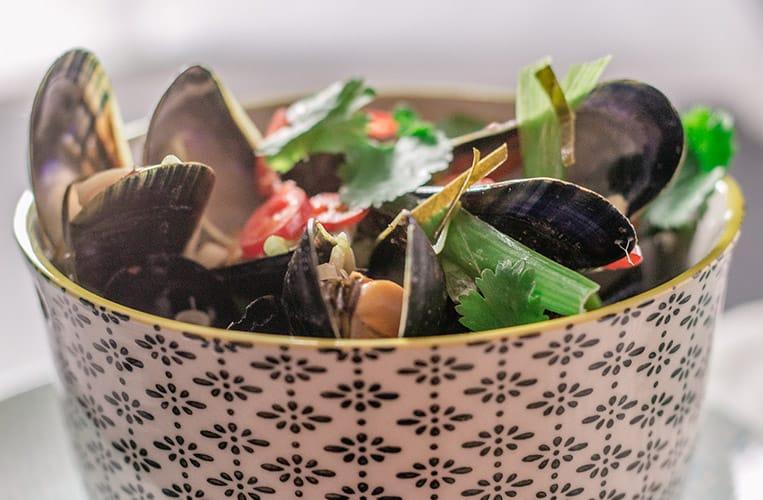 Miesmuscheln in Kokosmilch aus Thailand