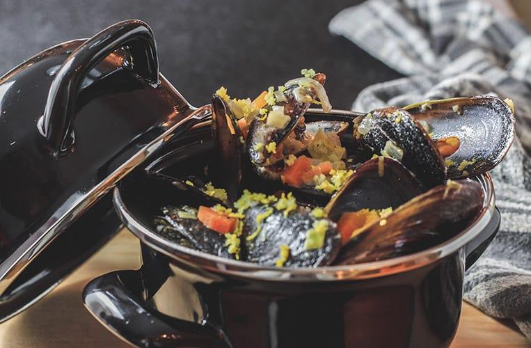 Moules au Roquefort aus Frankreich