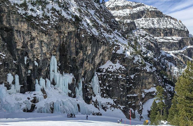 gefrorener Wasserfall am Lagazuoi