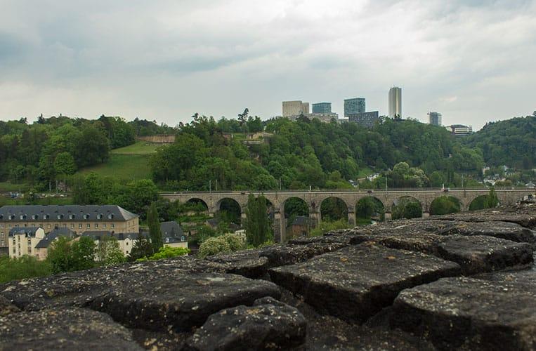 Blick auf das Plateau Kirchberg in Luxemburg Stadt