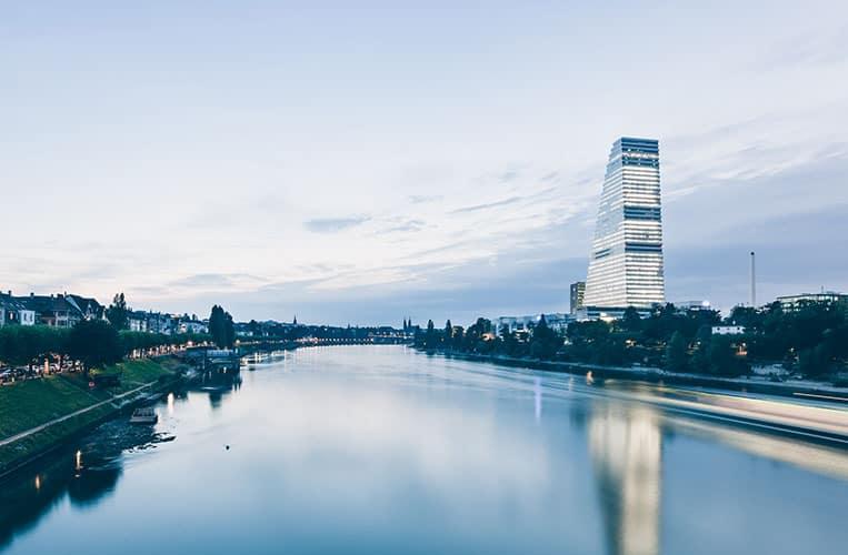 Das Panorama von Basel mit dem Roche Turm |Foto: Basel Tourismus