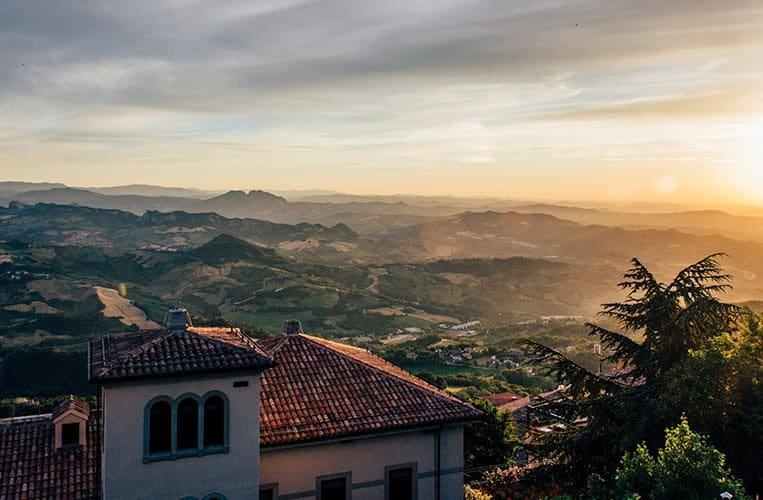 Sonnenuntergang Castello della Guaita, San Marino