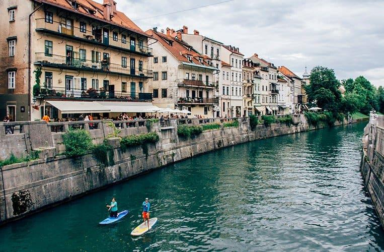 Die Ljubljanica und die Brücken der Stadt