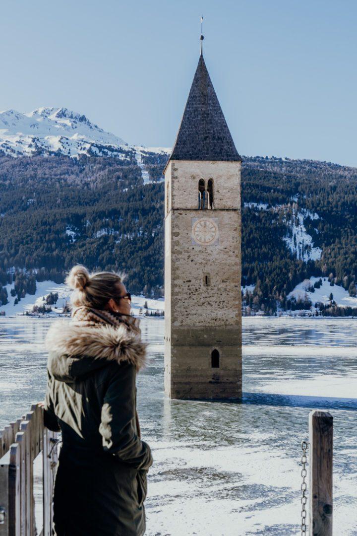 Der Reschensee und sein versunkener Kirchturm – Vinschgau, Südtirol